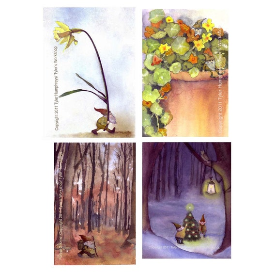 Gnome Greeting Cards Stationery - Over 10% Discount - Gnome Christmas Cards - Gnome Cards - Gnome Blank Card Set of 4