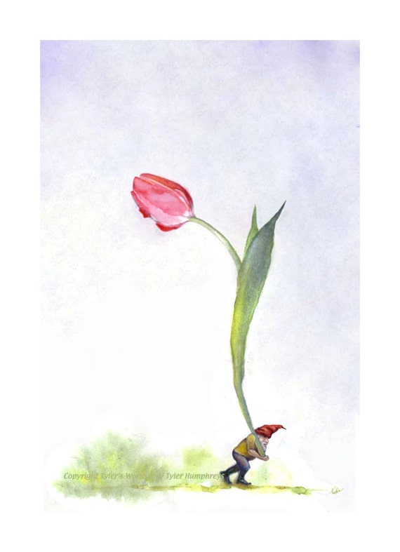 Blank Gnome Card, Gnome & Pink Tulip Flower Watercolor Painting Illustration Gnome Greeting Card Print
