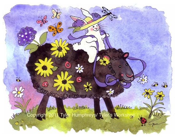 Watercolor Animals Greeting Card - Black Sheep Bunny Rabbit Card - Flowers Garden Illustration Watercolor Print