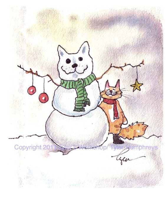 Cat Christmas Card - Cat Card - Cat Christmas Greeting Card - Cat Watercolor Painting Illustration Cartoon Print 'Snowcat'