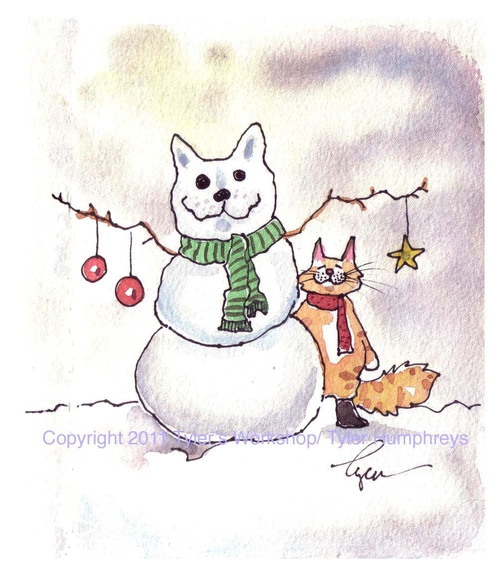 Cat Christmas Card Cat Card Cat Christmas Greeting Card | Etsy