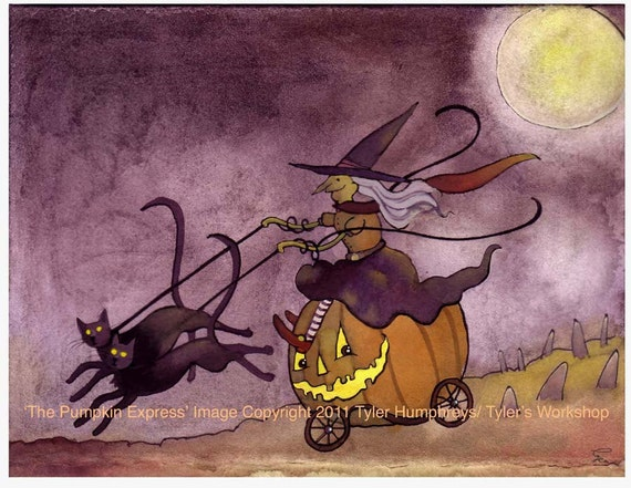Funny Halloween Card, Halloween Greeting Card, Handmade Halloween card, Handmade Greeting Card, Halloween Greeting 'The Pumpkin Express'