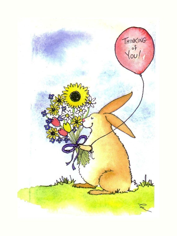 Thinking Of You Card - Funny Rabbit Bunny Card - Bunny Flowers Watercolor Greeting Card