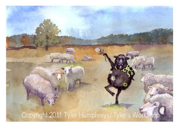 Funny Sheep Greeting Card - Black Sheep Watercolor Painting Illustration Print 'Blaaaack Sheep'