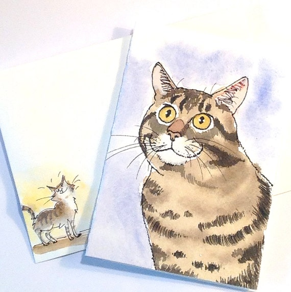 Original Watercolor Cat Painting, Handmade Cat Card, Watercolor Tabby Cat Portrait with Painted Envelope & Funny Handmade Cat Sticker