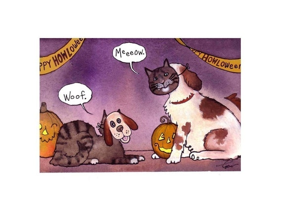 Funny Halloween Pets Card Cat and Dog Halloween Card Humorous Animals Halloween Art Trick or Treat Dog and Cat Watercolor Greeting Card