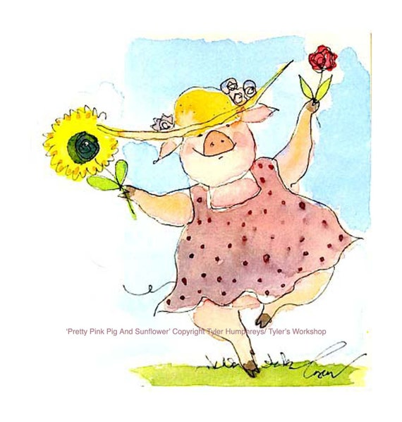 Pig Greeting Card - Funny Pig Card - Funny Watercolor Pig Art Illustration Print 'Pretty Pink Pig and Sunflower'