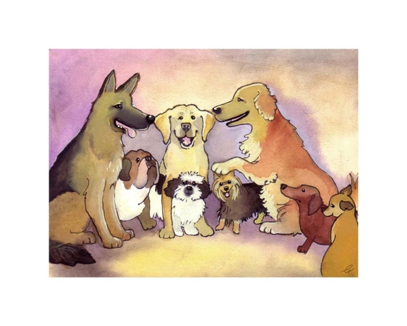 Funny Dog Art, Watercolor Dog Painting Print, German Shephered, Golden Retriever, Bulldog, Labrador Dog Art,  'Dog Talk' 8x10