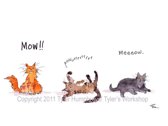 Funny Cat Card - Cat Art - Cats Greeting Card - Funny Watercolor Cats Painting - Funny Cat Card Print 'Mow Purrrr Meow'