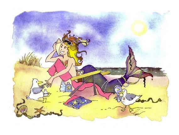 Funny Mermaid Greeting Card - Fashion Mermaid Cartoon Illustration Watercolor Painting Print 'Girls Just Wanna Have Fun'