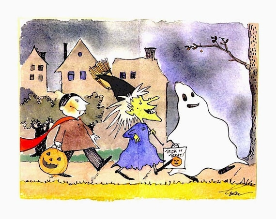 Halloween Greeting Card, Halloween Card, Funny Halloween Card, Kids Trick Or Treat Happy Halloween Watercolor Cartoon Illustration Print
