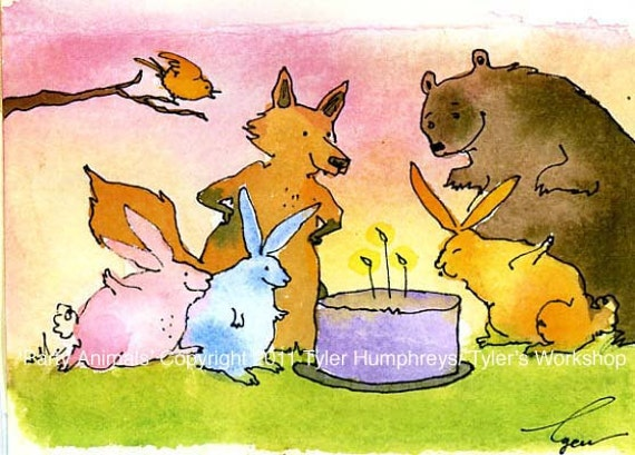 Funny Blank Birthday Card - Woodland Animals Card - Children Birthday Greeting Card - Card For Kids - Watercolor Card