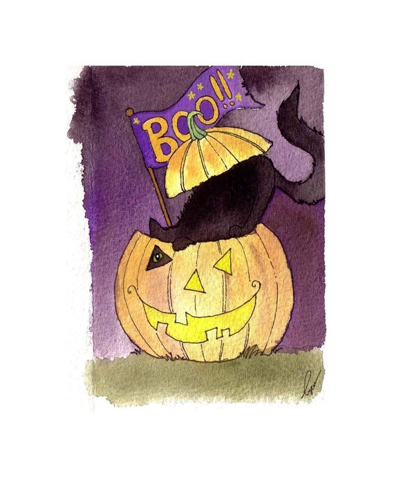 Black Cat Halloween Greeting Card - Halloween Card - Handmade Watercolor Greeting Card