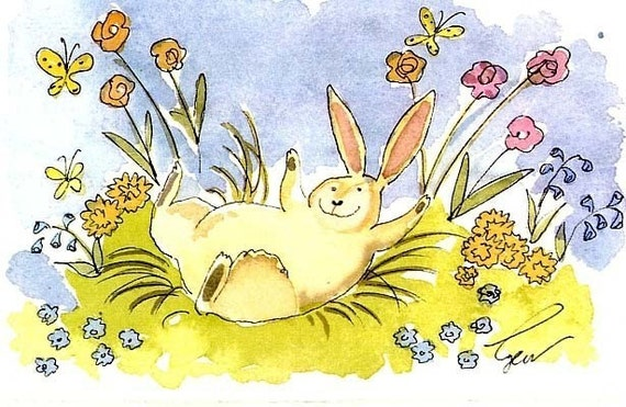 Bunny Rabbit Card, Rabbit Watercolor Painting Bunny Rabbit Greeting Card Cartoon Illustration Print