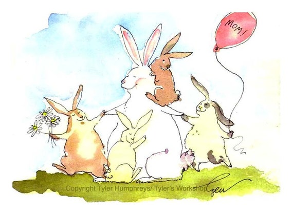 Mothers Day Card - Rabbit Bunny Art, Mom Family Funny Bunny Rabbit Greeting Card, Rabbit Watercolor Painting Illustration Print 'Bunny Mama'