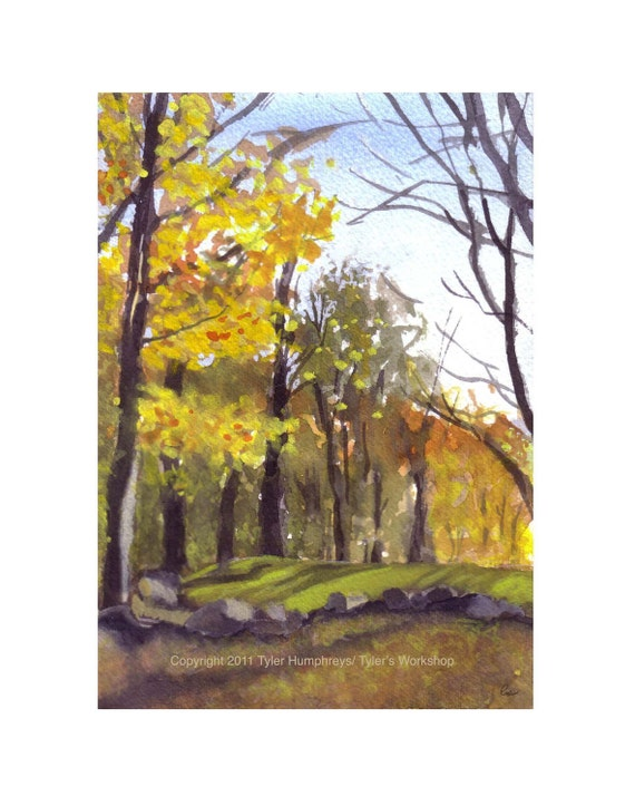 Blank Autumn Card - Fall Card - Thanksgiving Card - Autumn Fall Watercolor Landscape Art Card - Watercolor Woods Forest Painting Print