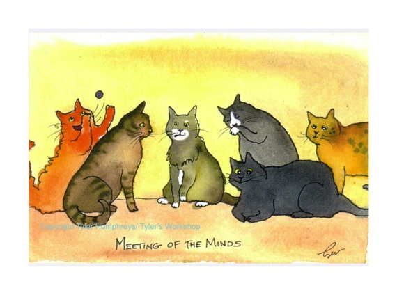 Funny Cat Card - Blank Cat Card - Cat Art - Cat Cartoon Greeting Card - 'Meeting Of The Minds'