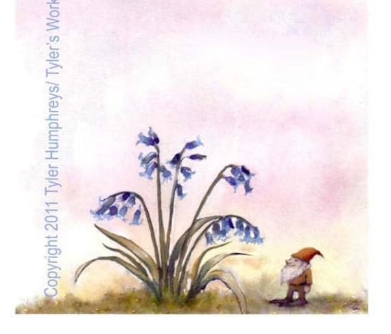 Funny Gnome Card - Gnome Greeting Card Art Bluebells Flowers Garden Watercolor Painting Illustration Print 'Bluebells Are Ringing''