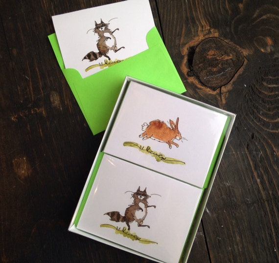 Animal Note Cards - Set of 12 Funny Woodland Animals Cards Stationery Set