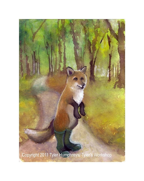 Fox Greeting Card, Fox Card, Fox Art, Red Fox Watercolor Painting, Fox Illustration, Fox Print 'Fox In Green Wellies'