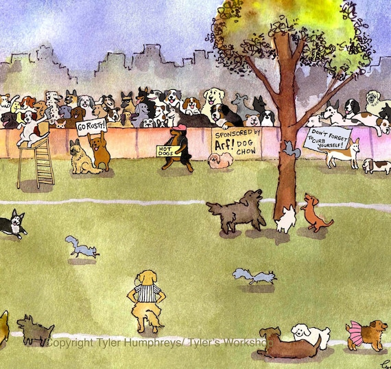 Funny Dog Card - Dog Art - Cartoon Dog Greeting Card 'The Annual Dog Day Squirrel Chasing Tournament'