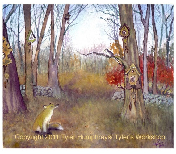 Red Fox Greeting Card - Cuckoo Clocks - Country Woodland Landscape Watercolor Painting Print