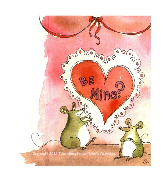 Funny Happy Valentines Day Card - Valentines Card - Cards For Love Romance Mouse Watercolor Painting - Funny Valentine Card - Funny Card
