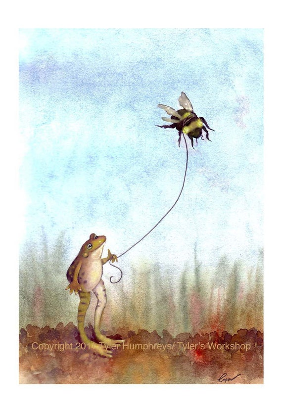 Frog Greeting Card - Funny Frog & Bumblebee Watercolor Painting Print 'Go Fly A Bumblebee'