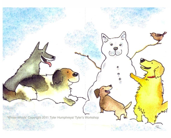 Dog Card - Dog Christmas Card - Dog Art - Funny Dogs Watercolor Illustration Painting Print 'Winter Woofs'