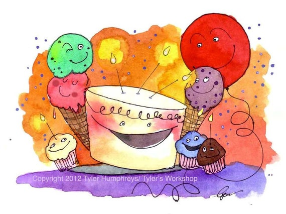 Children Birthday Card- Funny Birthday Card- Watercolor Greeting card