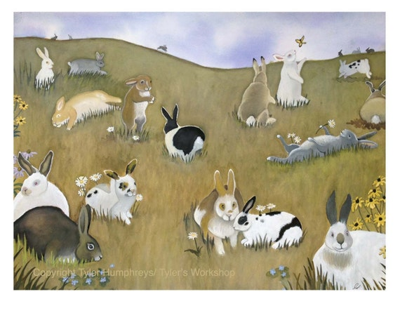 Bunny/ Rabbit Greeting Card - Bunny/ Rabbit Watercolor Painting Illustration Print Country Landscape