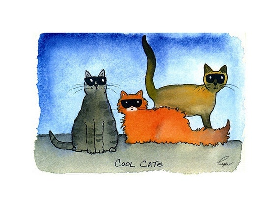 Funny Cat Card - Cat  Art - Cat Illustration/ Cartoon - Cats Greeting Card 'Cool Cats'