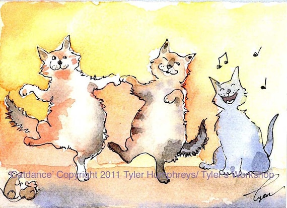 Watercolor Card Cats Funny Cat Greeting Card  Dancing Cats Singing Cat Illustration Print Blank Cat Card 'Song N' Dance Cats'