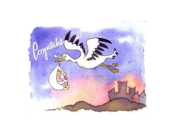 Baby Card, Baby Art, Nursery Baby & Flying Stork Funny Watercolor Painting Illustration Greeting Card Print 'Congratulations Baby'