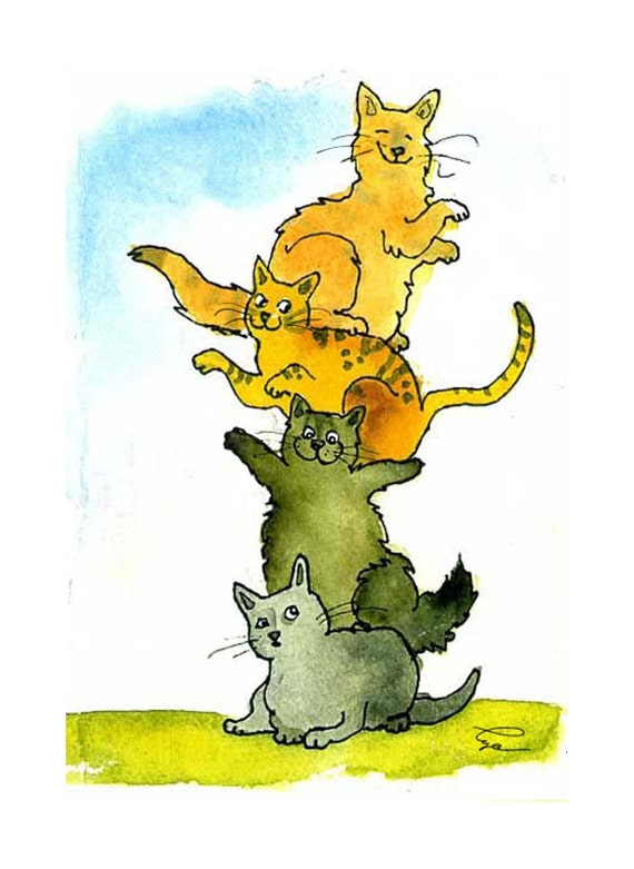 Funny Blank Cat Card, Cat Art, Cat Greeting Card, Cat Illustration, Cat Watercolor Painting Print 'Kitty Quartet'