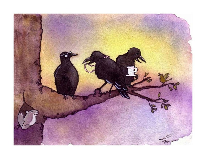 Crow Art Crow Card Funny Birds Crows Greeting Card Etsy