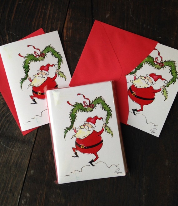 Set of 12 Christmas Cards Discount Price Funny Santa Clause Greeting Cards Christmas Stationery Funny Santa Clause Stationery