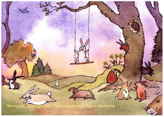 Rabbits/ Bunny Art - Easter Card - Rabbits Greeting Card Bunnies Watercolor Painting Illustration Print 'Bunnyland'