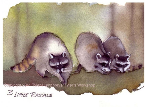 Raccoon Greeting Card, Raccoons Watercolor Painting Illustration Print 'Three Little Rascals'