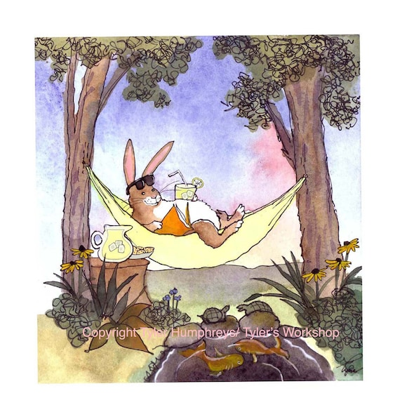 Rabbit Bunny Greeting Card- Funny Spring Summer Watercolor Card- Cartoon Illustration Print-'Siesta Bunny'