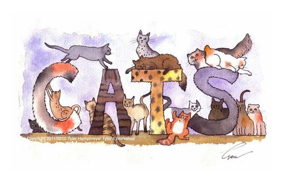 Funny Cat Watercolor Print - Cats - Cat Art - Cats illustration - Cat Painting