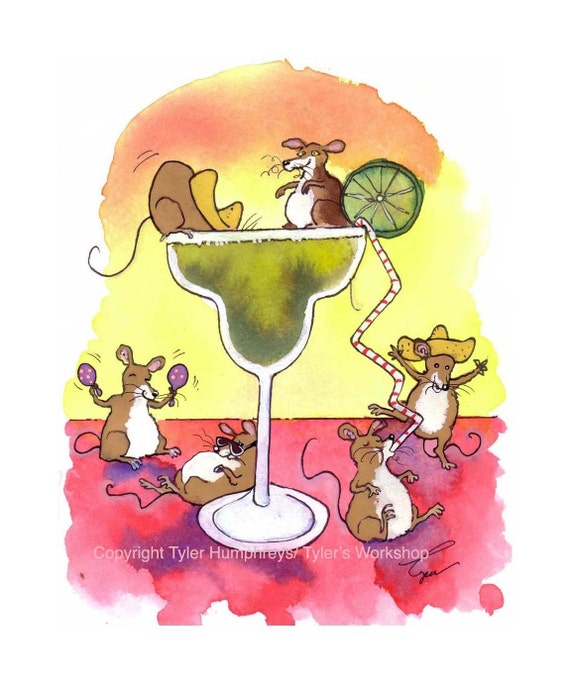 Funny Mouse Watercolor Card - Mouse Art - Mice Watercolor Illustration Cartoon Print 'Margarita Mice'