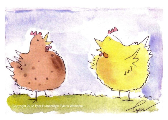 Chicken Card - Funny Chicken Greeting Card - Funny Chicken Illustration Print - Chicken Cartoon - 'Chicken Talk Bok Bok Bok'