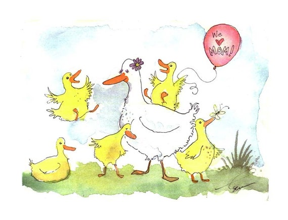 Mother Duck Birds Baby Children Spring Watercolor Painting Greeting Card Print 5x7 'Mama Duck'