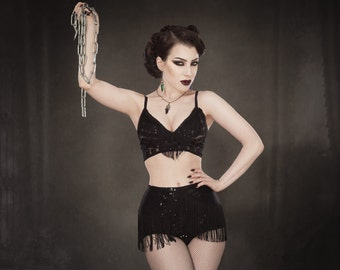 Black sequin and mesh high waisted pants and bralette with fringe detail burlesque retro lingerie