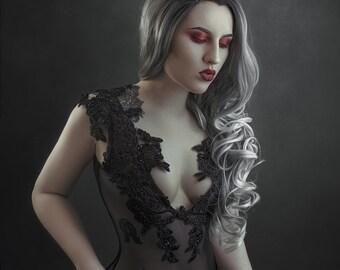 Black Widow black mesh see through appliqué body suit