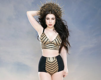 6318e028a7776 Geometric gold sequin bralette and high waisted hot pant shorts festival  burning man burlesque circus