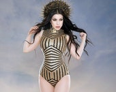 Sequin geometric lycra body suit - available in gold, black, silver, green or pink