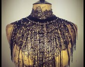 Black lace collar with gold beaded fringe