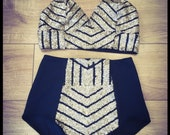 Geometric sequin bralete and high waisted hot pant shorts festival burning man burlesque circus - silver